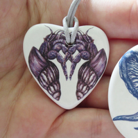 Entwined Hermit Crab Heart Shaped Ceramic Pendant on Grey Cord with Clasp