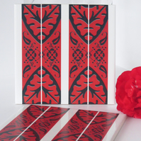 North African Inspired Red White and Black Ceramic Tile Trivet with Cork Backing