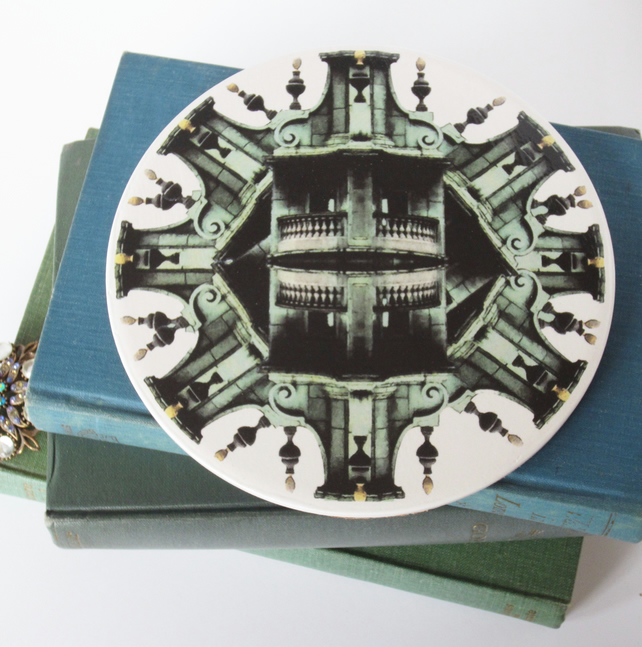 Gothic Architecture Inspired Round Ceramic Tile Trivet with Cork Backing