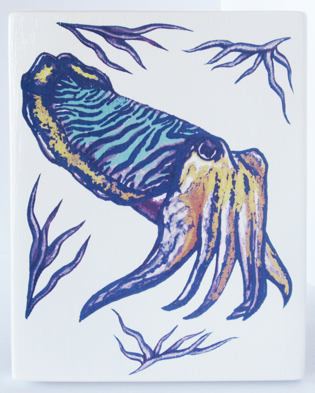 Multicoloured Cuttlefish Artwork Design Chunky Ceramic Wall Plaque Ready to Hang