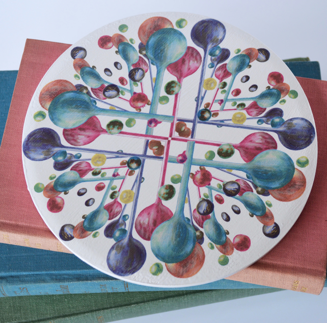 Bubble Pattern Round Ceramic Tile Trivet in Rainbow Colours with Cork Backing