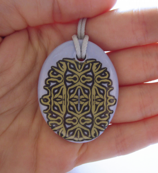 Mauve and Gold Colour Rococo Pattern Ceramic Pendant on Grey Cord with Clasp