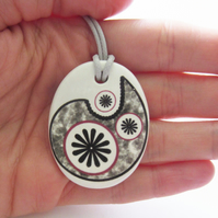 Paisley Star Design Oval Ceramic Pendant on Grey Cord with Lobster Clasp
