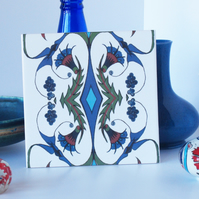 Ottoman Inspired Flower and Bird Pattern Ceramic Tile Trivet with Cork Backing
