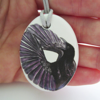 Paradise Riflebird Artwork Oval Ceramic Pendant on Grey Cord with Lobster Clasp