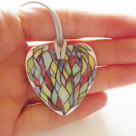 Watercolour Artwork on Heart Shaped Ceramic Pendant on Grey Cord