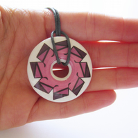 Deep Pink and Mauve Geometric Donut Shaped Ceramic Pendant on Grey Cord