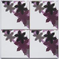 Set of 4 Pink Mauve and Grey Leaf Design Ceramic Tile Coasters with Cork Backing