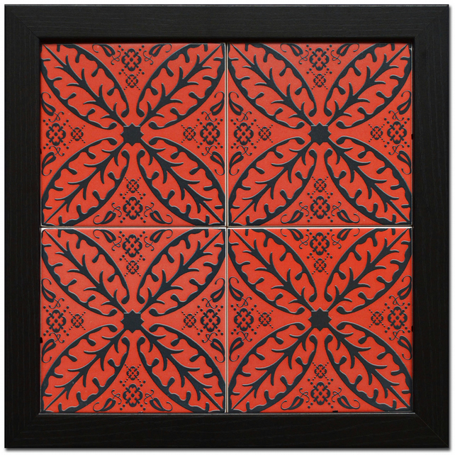 Red and Black North African Inspired Ceramic Tile Wall Plaque with Black Frame