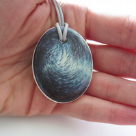 Blue Fish Bait Ball Artwork Oval Ceramic Pendant on Grey Cord with Lobster Clasp