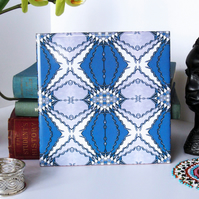 Blue and Mauve Serpent Pattern Ceramic Tile Trivet with Cork Backing