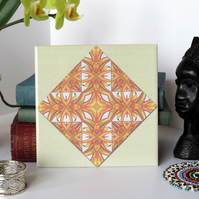 Orange Retro Pattern Ceramic Tile Trivet with Cork Backing