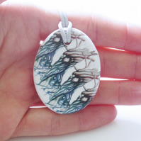 Tree and Water Element Artwork Ceramic Pendant on Grey Cord with Lobster Clasp