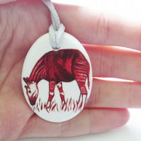 Okapi Artwork Oval Ceramic Pendant on Grey Cord with Lobster Clasp