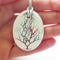 Tree of Life Design Oval Ceramic Pendant on Grey Cord with Lobster Clasp