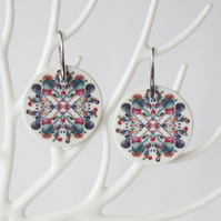 Pair of Bubble Pattern Ceramic Disc Earrings with Silver Coloured Ear Wires