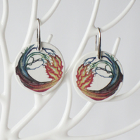 Fire Water and Tree Elemental Art Ceramic Earrings with Silver Colour Ear Wires