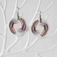 Pair of Wing Pattern Ceramic Disc Earrings with Silver Coloured Ear Wires