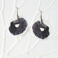 Paradise Riflebird Art Ceramic Disc Earrings with Silver Coloured Ear Wires