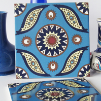 Blue Moroccan Inspired Geometric Design Ceramic Tile Trivet with Cork Backing