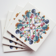 Multicoloured Bubble Pattern Ceramic Tile Coasters with Cork Backing