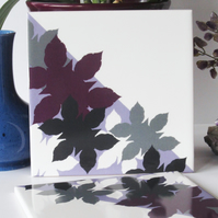 Pink Mauve and Grey Leaf Pattern Ceramic Tile Trivet with Cork Backing