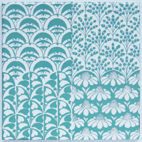Aqua Green Floral Patchwork Pattern Ceramic Tile Trivet with Cork Backing