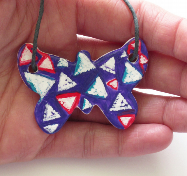 Triangle Pattern Hand Painted Ceramic Butterfly Pendant on Grey Cord with Clasp