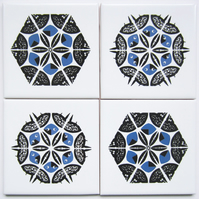 4 x Blue and Black Snowflake Pattern Ceramic Tile Coasters with Cork Backing