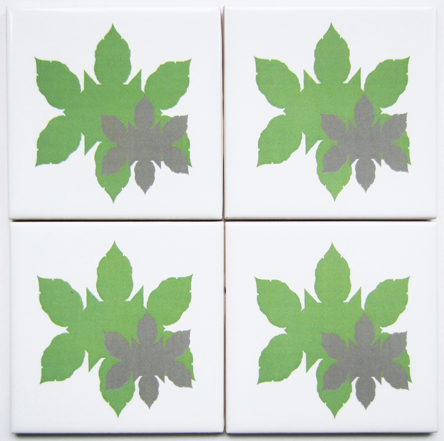 4 x Green Leaf Silhouette Pattern Ceramic Tile Coasters with Cork Backing