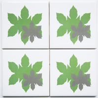 4 x Green Leaf Silhouette Ceramic Coasters with Cork Backing - CLEARANCE PRICE