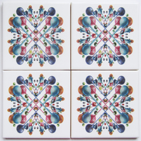 4 x Multicoloured Bubble Pattern Ceramic Tile Coasters with Cork Backing