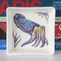 Cuttlefish Design Square Ceramic Dish, 10 x 10cm, Many Uses