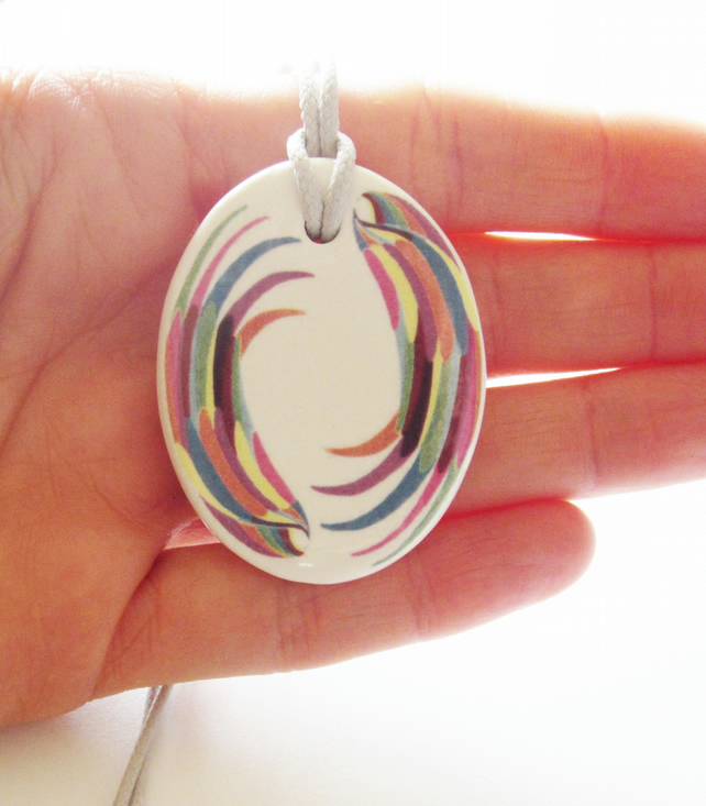 Multicolour Wing Design Oval Ceramic Pendant on Grey Cord with Lobster Clasp