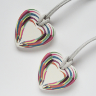 Multicolour Wing Design Heart Shaped Ceramic Pendant on Grey Cord