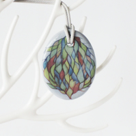Watercolour Tree Design Oval Ceramic Pendant on Grey Cord with Lobster Clasp
