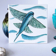 Turquoise Flying Fish Design Ceramic Tile Trivet with Cork Backing