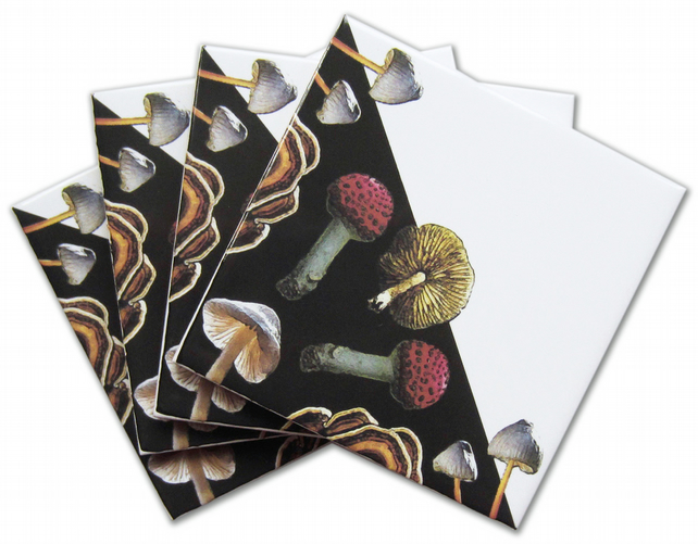 4 x Toadstool Ceramic Tile Coasters with Cork Backing