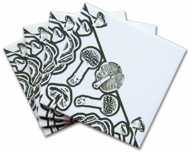 4 x Dark Green and White Toadstool Ceramic Tile Coasters with Cork Backing