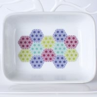 Pastel Patchwork Design Ceramic Dish, 13 x 9.5cm, Many Uses