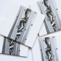 4 x Grey and White Pattern Ceramic Tile Coasters with Cork Backing