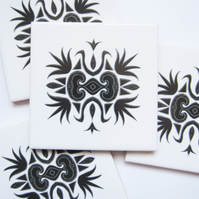 4 x Ornate Black Filigree Pattern Ceramic Tile Coasters with Cork Backing