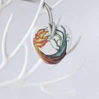 Fire and Water Elements Design on Heart Shaped Ceramic Pendant on Grey Cord