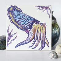 Cuttlefish Design Ceramic Tile Trivet with Cork Backing