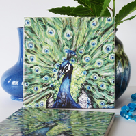 Peacock Design Ceramic Tile Trivet with Cork Backing