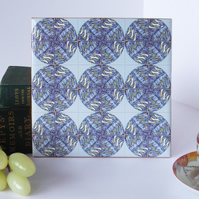 Lavender Inspired Design Ceramic Tile Trivet with Cork Backing