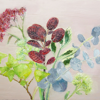 Botanical Oil Painting on Canvas Board with Eucalyptus, Cotinus, Achillea, Sedum