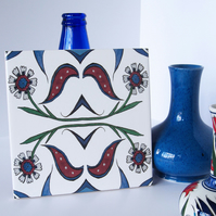 Ottoman Inspired Floral Pattern Ceramic Tile Trivet with Cork Backing