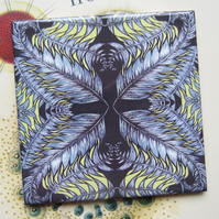 Multicoloured Feather Pattern Ceramic Tile Trivet with Cork Backing