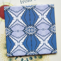 Blue and Mauve Serpent Pattern Ceramic Tile Trivet with Cork Backing - SALE ITEM